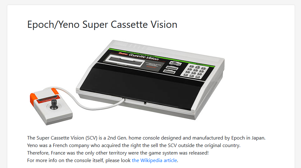 New page about the Super Cassette Vision