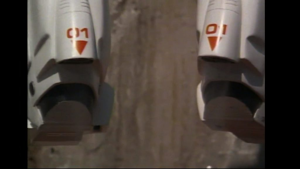 Spock's rocket boots. Text on them is visible and sharp