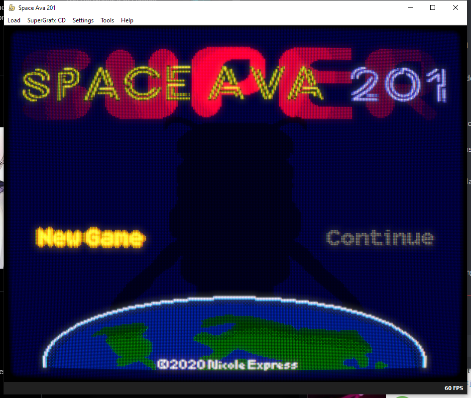 A fake CRT filter on the title screen