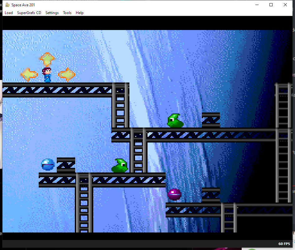 An upscaling filter that claims to de-dither. A few blobs of smeared color are seen.