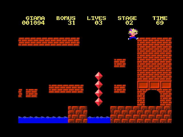 """Gameplay of """"Great Giana Sisters"""" on the Commodore Amiga"""