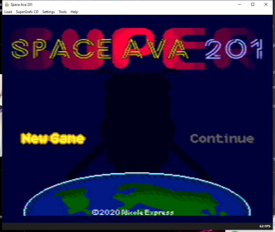A fake blurry composite filter on the title screen