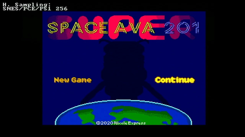 The title screen of Space Ava 201. It is very crisp pixel-wise.