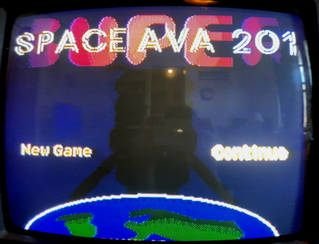 The title screen of Space Ava 201 running on a television.