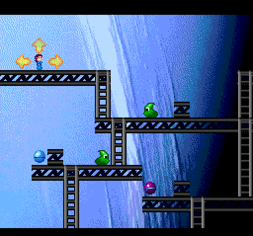 Gameplay on Neptune in Space Ava 201. A girder structure is on top of a pixelated shot of the planet