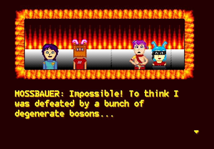A dialogue screen of Space Ava 201. Ava, accompanied by a bunnygirl wearing a paper bag on her head, is pleased, while a half naked man who has a tied-up bunnygirl is sad. He spills a platter of tea. The text says MOSSBAUER: Impossible! To think I was defeated by a bunch of degenerate bosons...
