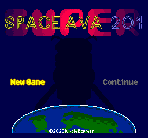 The title screen of Space Ava 201.